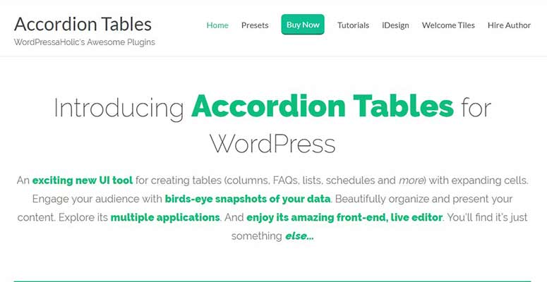 Accordion Tables