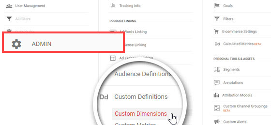 Click on custom dimensions- author tracking