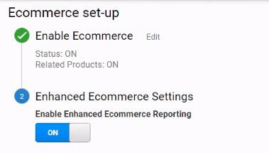 Enable enhanced ecommerce settings