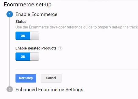 Enable ecommerce settings