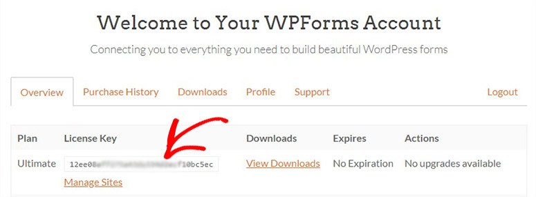 WPForms account page