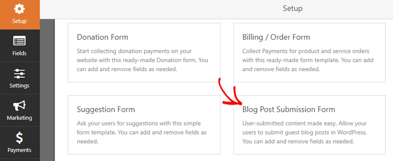 create submission form
