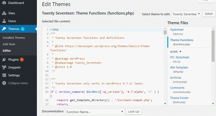 functions.php file