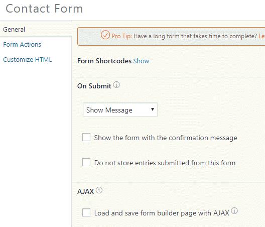 general settings form builder