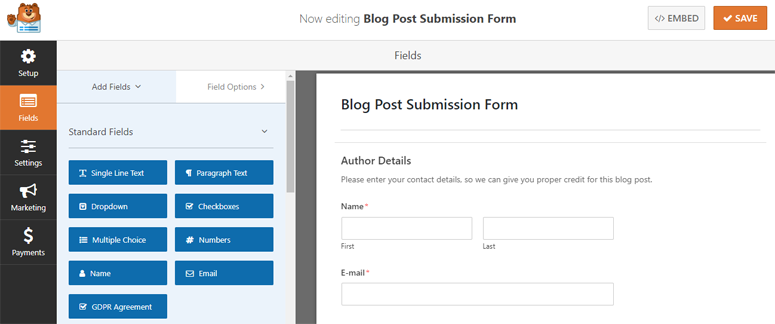 blog post submission form template