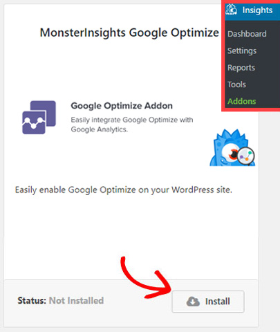 install-monsterinsights-google-optimize-addon