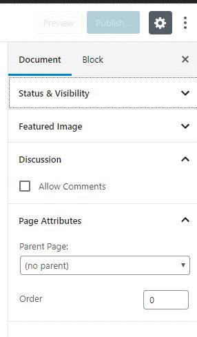 page attributes gutenberg