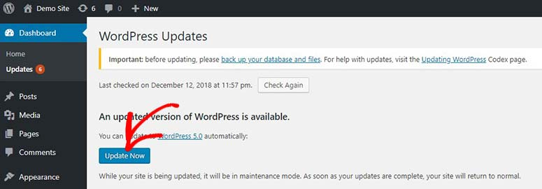 Update WordPress now