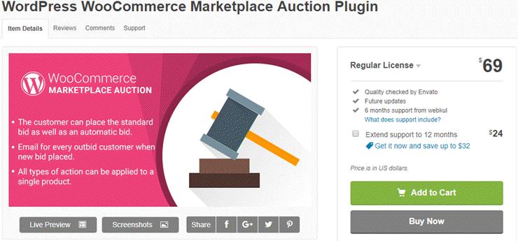 wordpress woocommerce marketplace auction plugin