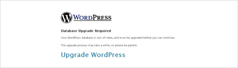 WordPress database upgrade