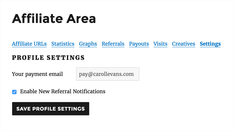 affiliate-area-settings