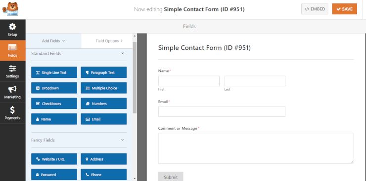 wpforms drag and drop builder plugin