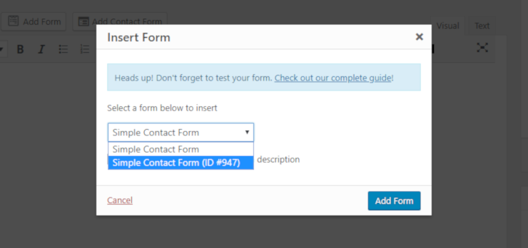wpforms embed form on site