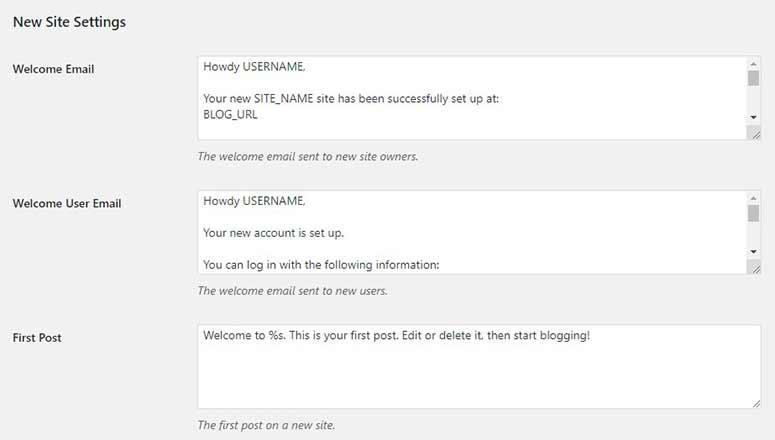 New site settings