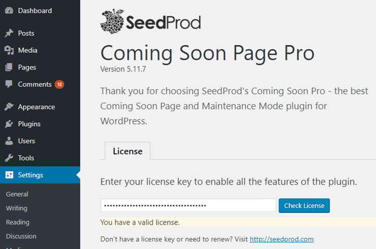 seedprod review - license page
