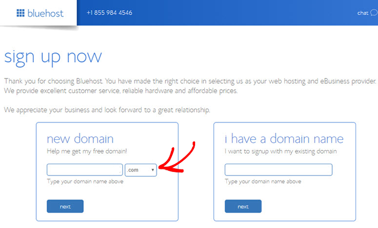 bluehost-choose-a-domain