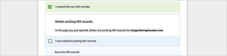 Created MX records