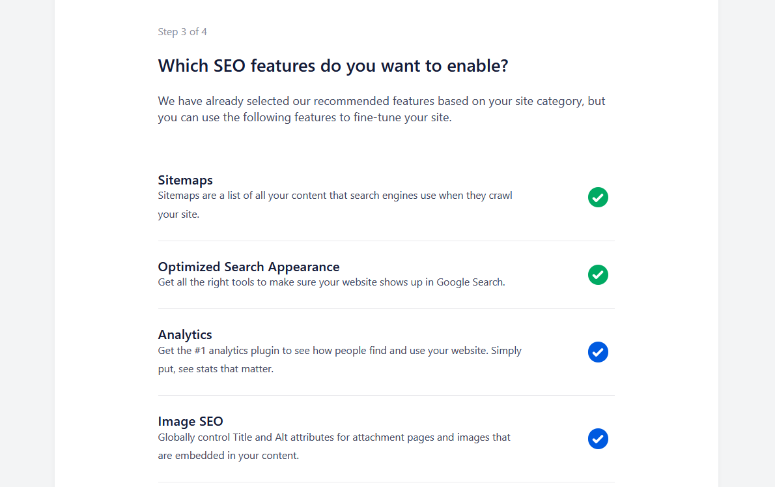 enable all in one seo features