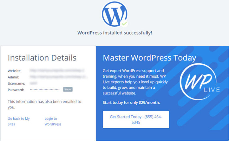 godaddy-to-wordpress-installation-success