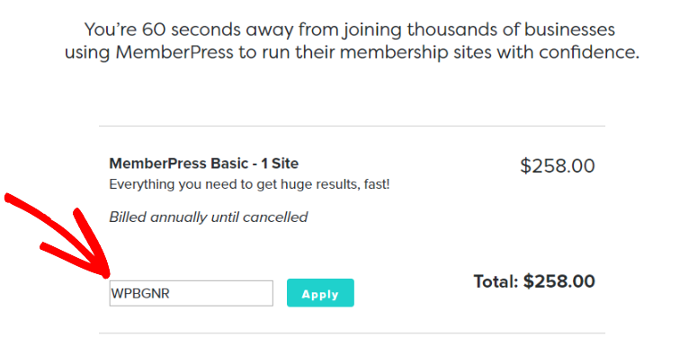 MemberPress discount code