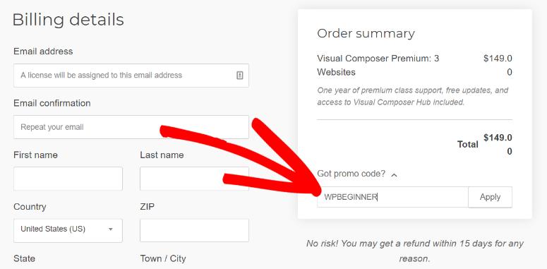 Visual Composer discount code