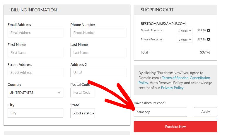 domain discount code