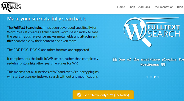 fulltext search homepage