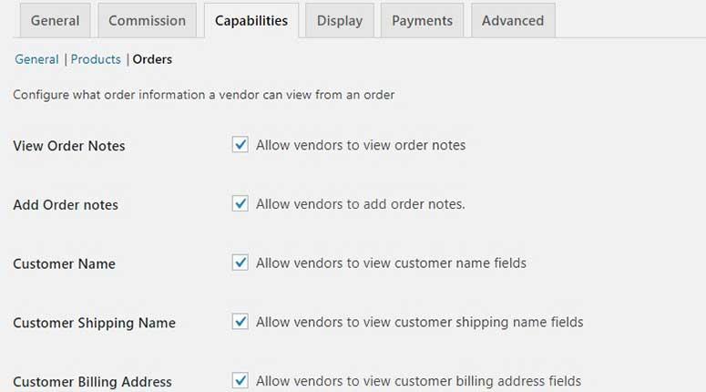 Orders capabilities