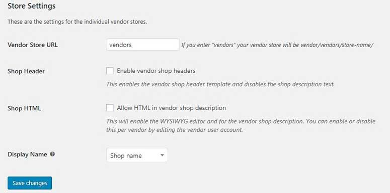 Store settings