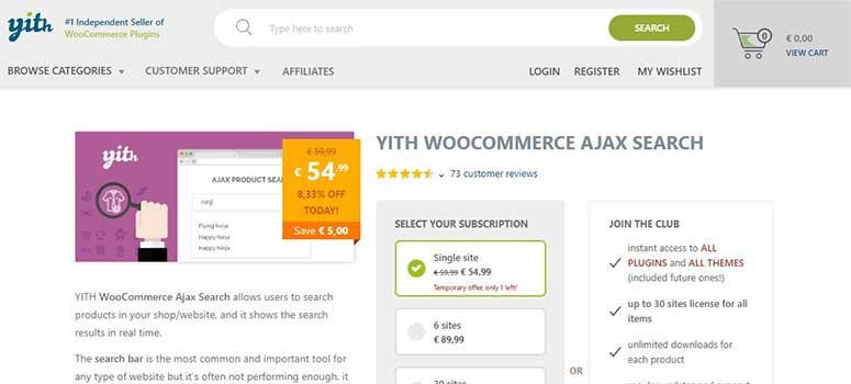 YITH Ajax WooCommerce Search