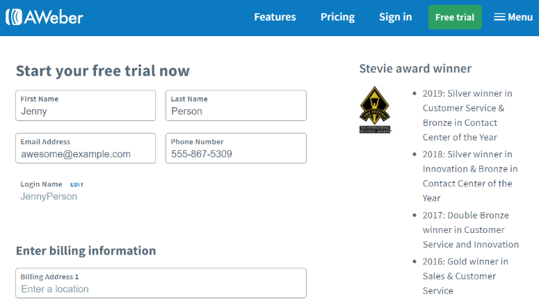 AWeber trial signup
