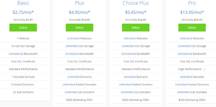 Bluehost-other-pricing-plans