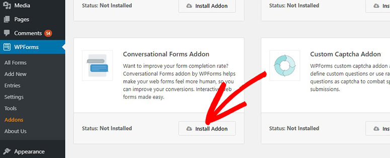 Install conversational forms addon