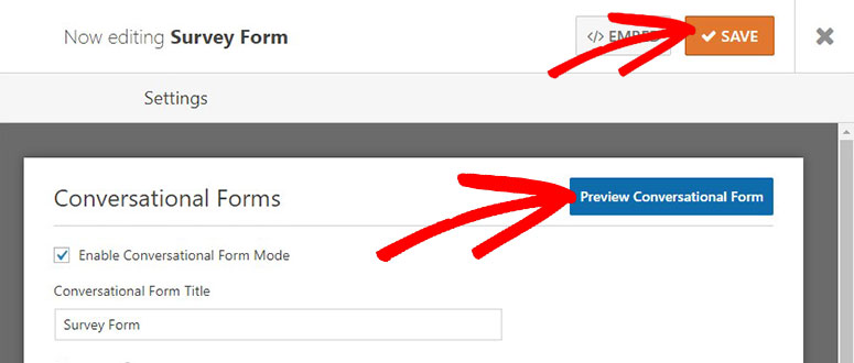 Preview form and save settings