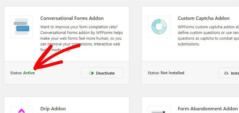 Addon status active
