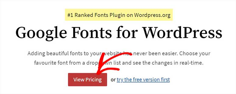 Google Fonts for WordPress plugin
