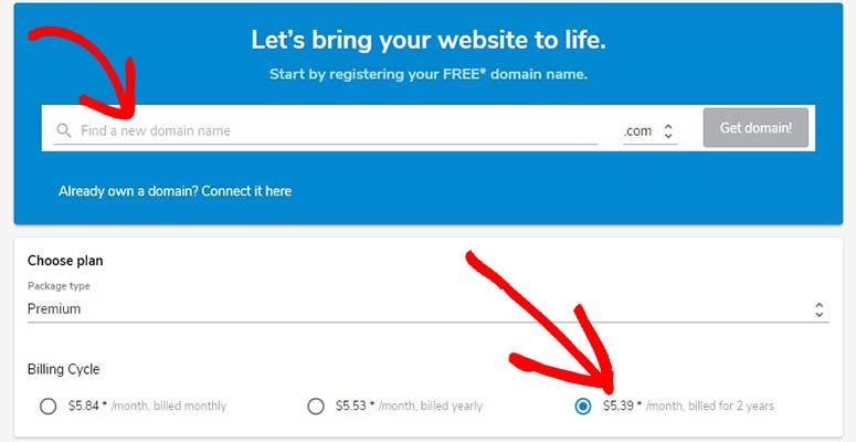 Select domain and billing
