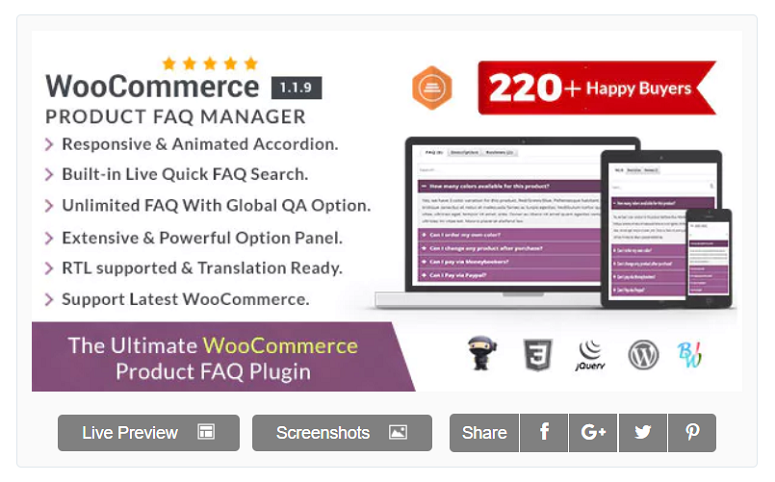 WooCommerce FAQ Manager, FAQ plugins