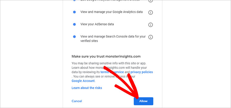 Allow MonsterInsights connect with Google Analytics