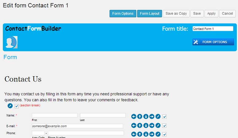 Contact form builder template