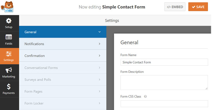 amp contact form general settings