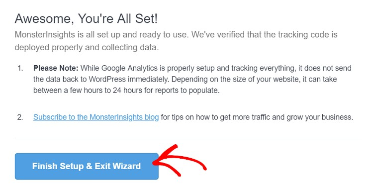 MonsterInsights exit wizard