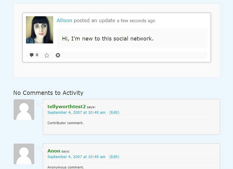 Activity page