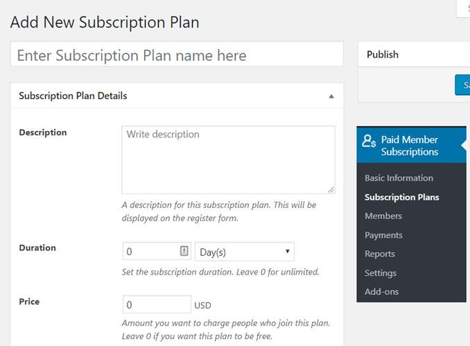 add new subscription plan