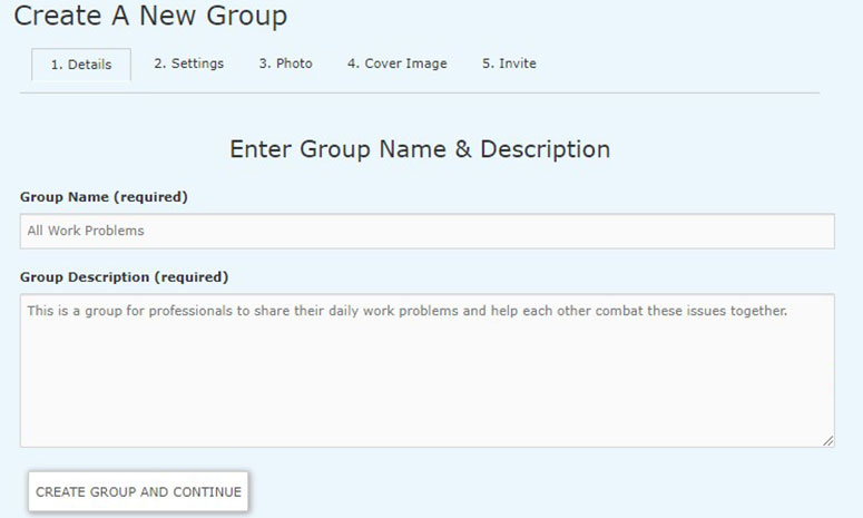 Create group and continue