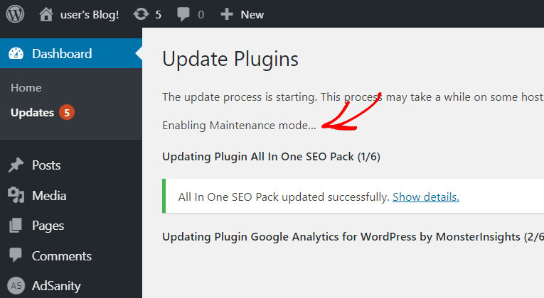 enabling wordpress maintenance mode