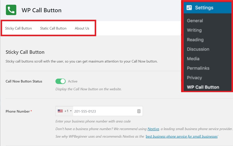 wp call button, call now