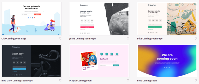 coming soon page template options