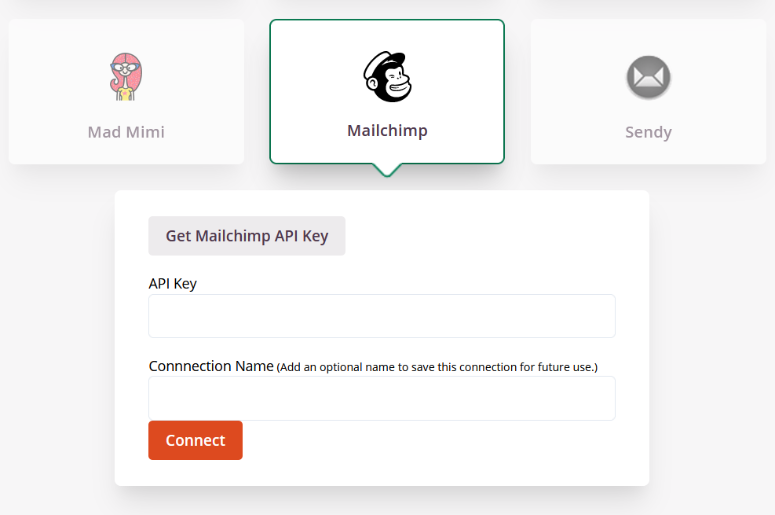 enter email marketing service API key