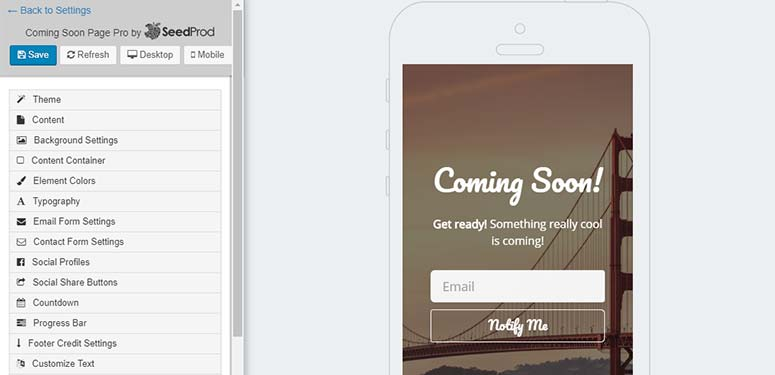 Mobile view for coming soon page